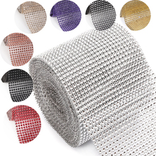 1Y6910 W:120mm W:120mm plastic rhinestone mesh trimming sew on mesh trim Wedding Decoration(China)