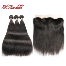ALI ANNABELLE HAIR Straight Brazilian Human Hair Bundles With Lace Frontal Free Middle Part Remy 3 Bundles with Lace Closure  (China)