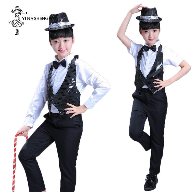 Jazz Dance Costumes for Girls Magic show clothes sequins children Michael Jackson Dance Clothes Short-sleeved Modern Dance