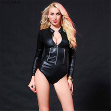 Buy Trish Bella 2018 Patent leather Solid color Tight Stand collar zipper Locomotive latex catsuit bodystocking body sexy costumes