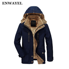 ENWAYEL Winter Thick Padded Parka Men Jacket Coat Russian Wadded Long Hooded Casual Warm Snow Windbreaker Overcoat Male Jackets(China)