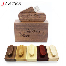 JASTER (over 10 PCS free LOGO) Wooden USB+ box USB Flash Drive pendrive 8GB 16G 32GB Memory stick for photography wedding gift