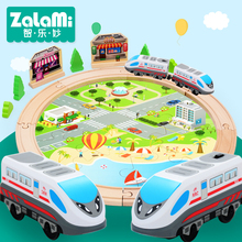 Zalami 29PCS wooden railway set with Electric Engine Train children Orbit gift 3-15 year old new interesting kids Toy wooka