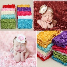 100*65cm 3D Rose Fabric Photography Props Baby Blanket Swaddling Newborn Photography Props Backdrops Floral Satin Rose Blanket