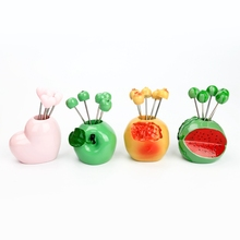 Stainless Steel Resin Fruit Fork Set Party Cake Salad Vegetable Forks Picks Table Decor Tools(China)