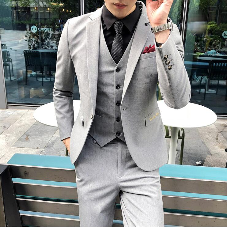 (jacket+pants+vest) Luxury Mens Black Suit Jacket Pants Formal Dress Men Suit Set Men Wedding Suit Groom Tuxedos