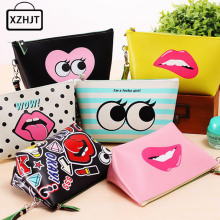 Cartoon 3D Harajuku Graffiti Cosmetic Bag Women Zipper Make Up Bag PU Leather Organizer Makeup Bag Travel Waterproof Pouch