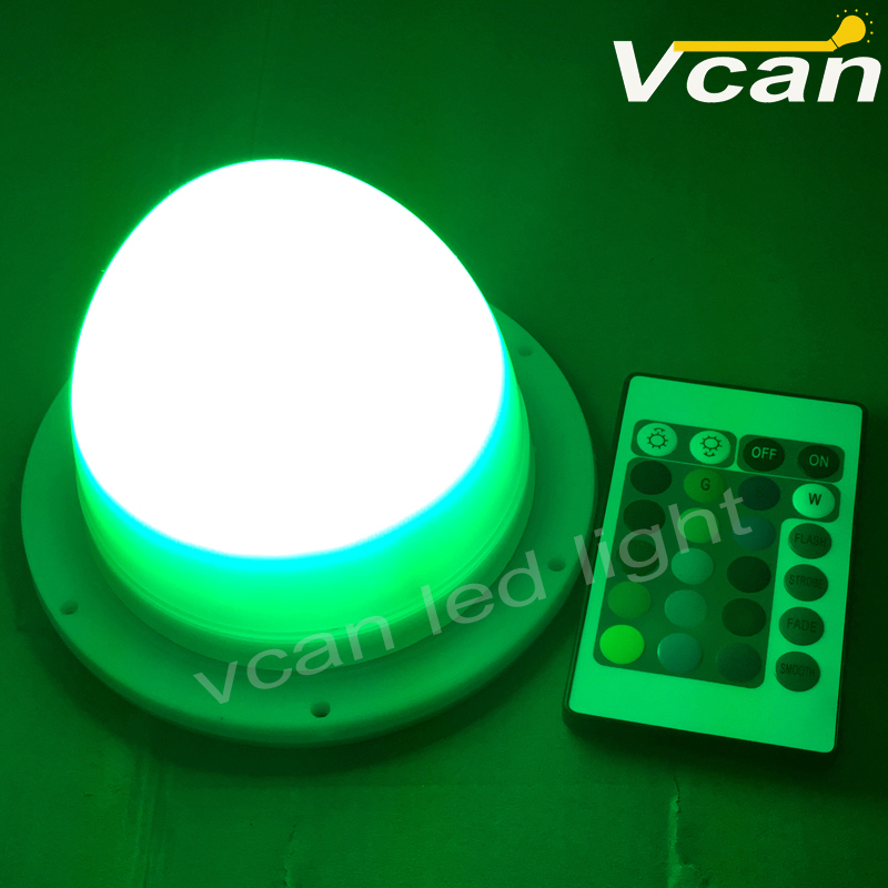 colours changing waterproof plastic led night small light bulbs round  base under table for wedding party<br>