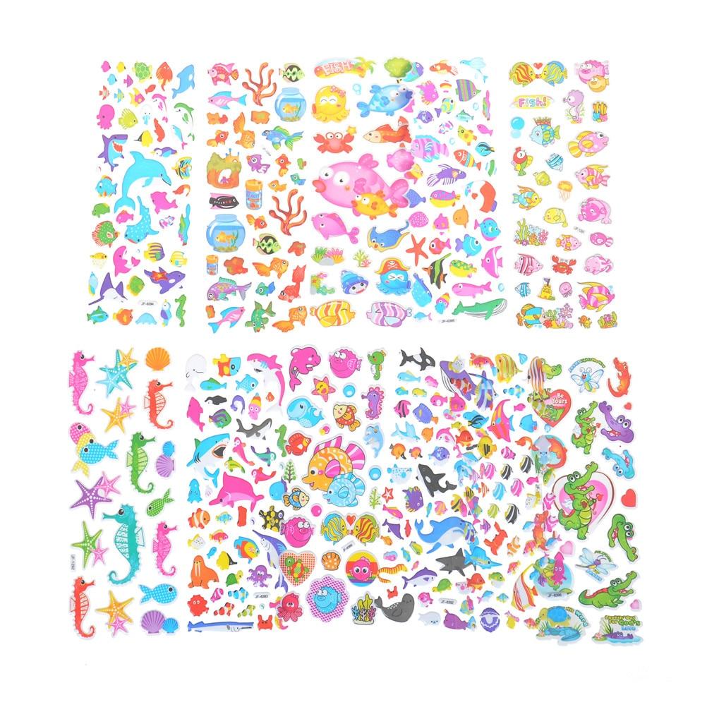 3D Cartoon Fish Sticker Stereoscopic PVC Puffy Kids Gift Lot Of 5 Sheet Gift Hot