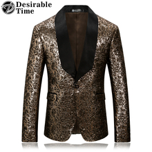 Desirable Time Brand Mens Gold Floral Blazer Slim Fit Black Lapel Party Sport Coat and Stage Costumes for Singers DT040