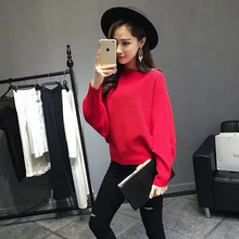 16 autumn winter Korea new style women pure red color Bat shirt knitted female sweater boat neck pullovers lady common tops 012(China)