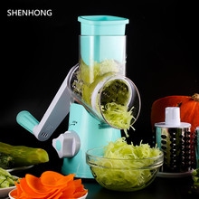 Roller Vegetable Cutter Manual Mandoline Slicer Potato Julienne Carrot Multifunction Cheese Grater Round Stainless Steel Blades(China)