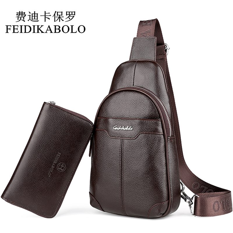 FEIDIKABOLO Fashion Cowhide Chest Pack Genuine Leather Mens Messenger Bag Male Crossbody Mobile Bags Brand Mens Shoulder Bag<br>