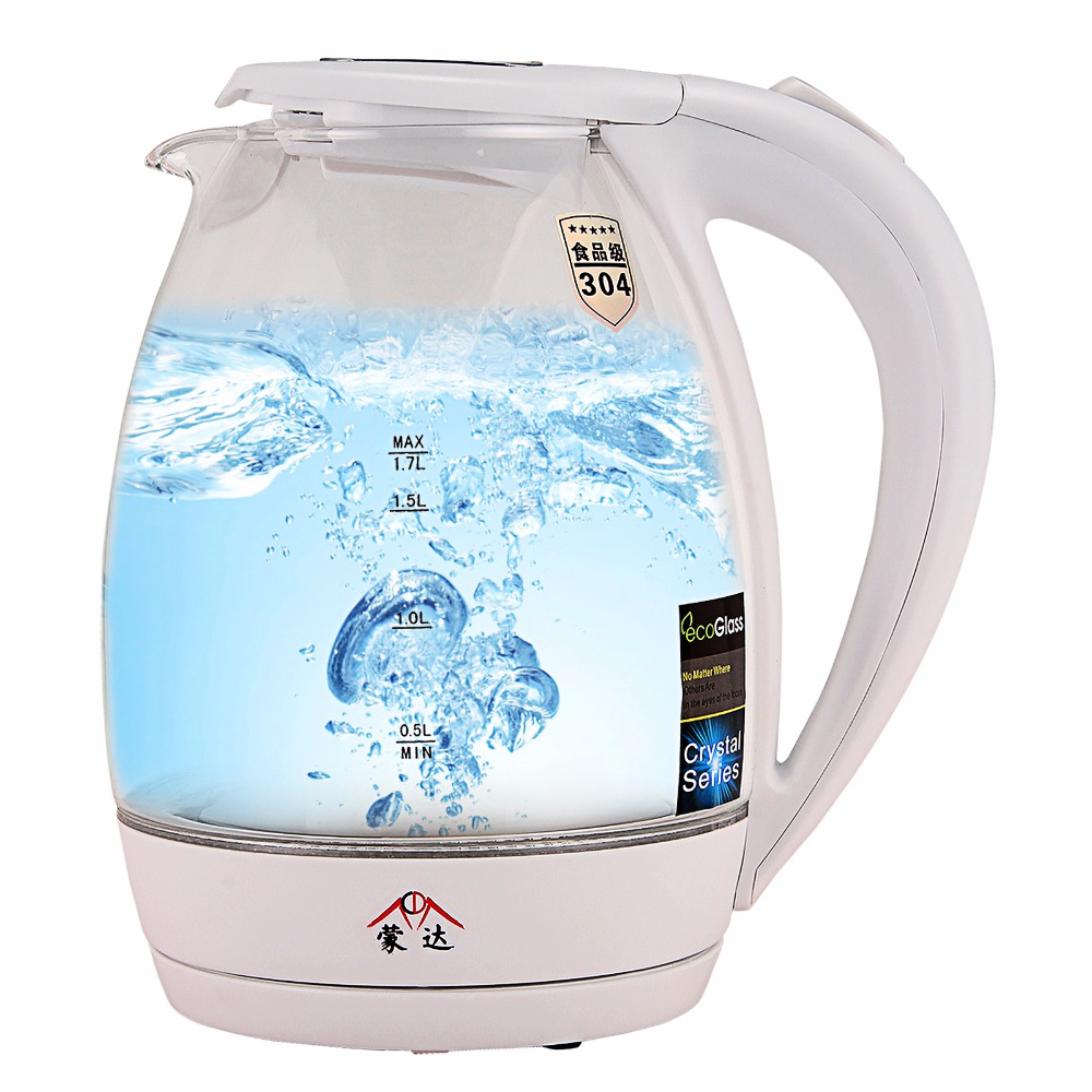 220V Blue Led Borosilicate Glass Electric Kettle Automatic Electric High Kitchen Appliances With Auto-Off Function Quick Heat <br>