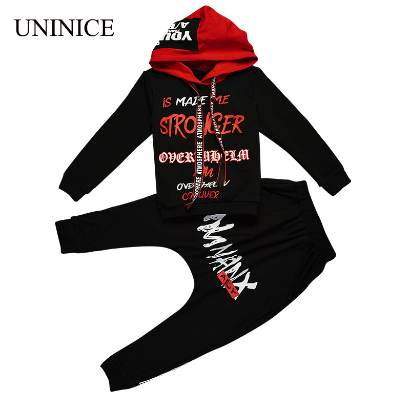 UNINICE 2017 Autumn Teenager Boys Clothes Boys Hooded Sweatshirt Children Clothing Set Cotton Long Sleeve Tracksuit For Boys <br>