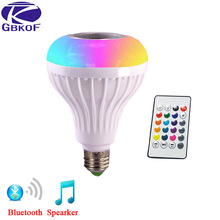 GBKOF Intelligent E27 12W RGB LED Bulb Bluetooth Smart Lighting Lamp Colorful Dimmable Speaker Lights Bulb With Remote Control