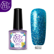 SEXY MIX 9ML Bling Blue Nail UV Gel Glitter Lacquer use with UV LED Lamp 3D Gel Nail Polish Spangles for Nails Laquer
