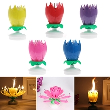 1PC Beautiful Blossom Lotus Flower Candle Birthday Party Cake Music Sparkle Cake Topper Rotating Candles Decoration-P101