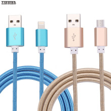 XINNIER USB Cable 2A 1M 1.5M Metal Cord Data Sync Wire Charger For iphone 7/ 6 plus 5S micro usb charger cable For Android