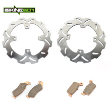 BIKINGBOY Motorcycle Motocross Front Rear Brake Disk Disc Rotor Pad for KAWASAKI KX125 KX 125 2006 2007 2008(China)