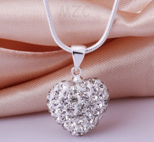Min.$15 Mixed Order+Free Shipping+Gift.Pink 12*14mm  White heart Silver Plated Crystal Shamballa  Necklace  For Women.