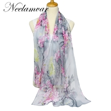 new 2017 spring and autumn winter women sheer chiffon georgette soft oblong scarves women's beach scarves shawl Cachecol(China)