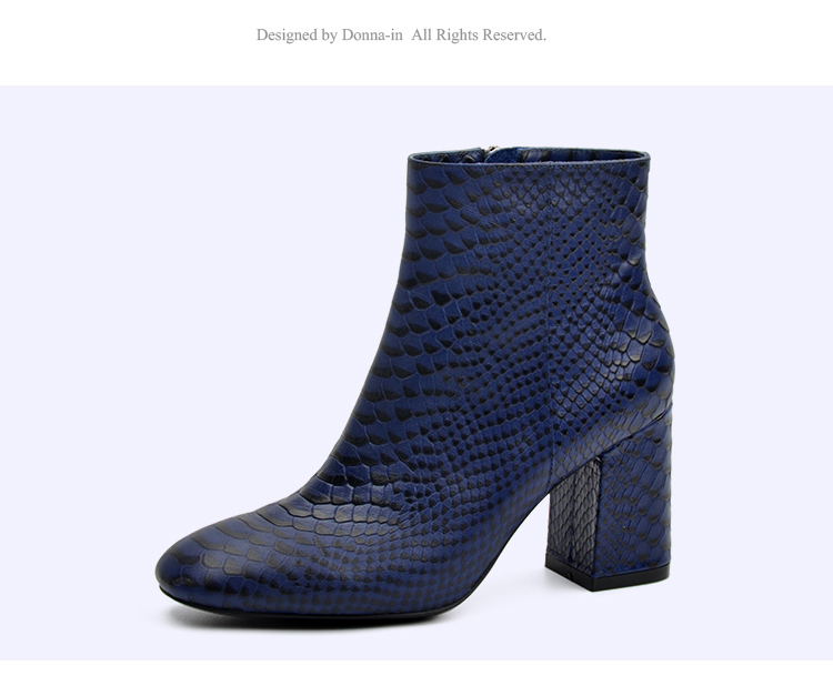 Donna-in 2017 new style ankle boots sexy snake leather women boots retro square toe thick high heel autumn boots 15325-19 (13)