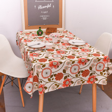 Orange Sunflower American Country Table Cloth Rectangle Printed Table Covers Dustproof Thick Tablecloths for Wedding Home Party