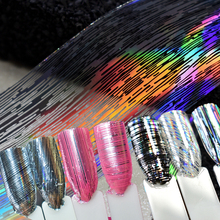 1 roll Hot Red Silver Holographic Stripe Transfer Foils Nail Foil Paper Polish Glue Transfer Adhesive Sticker DIY Nail Decal