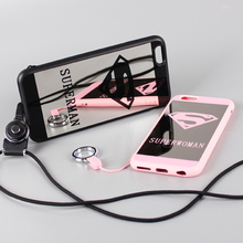 Hot Mirror Superman Superwoman Case Neck Strap Fundas Capa Rubber TPU Phone Cases Cover For iPhone 7 7Plus 5 5S 6 6S 4.7 6Plus