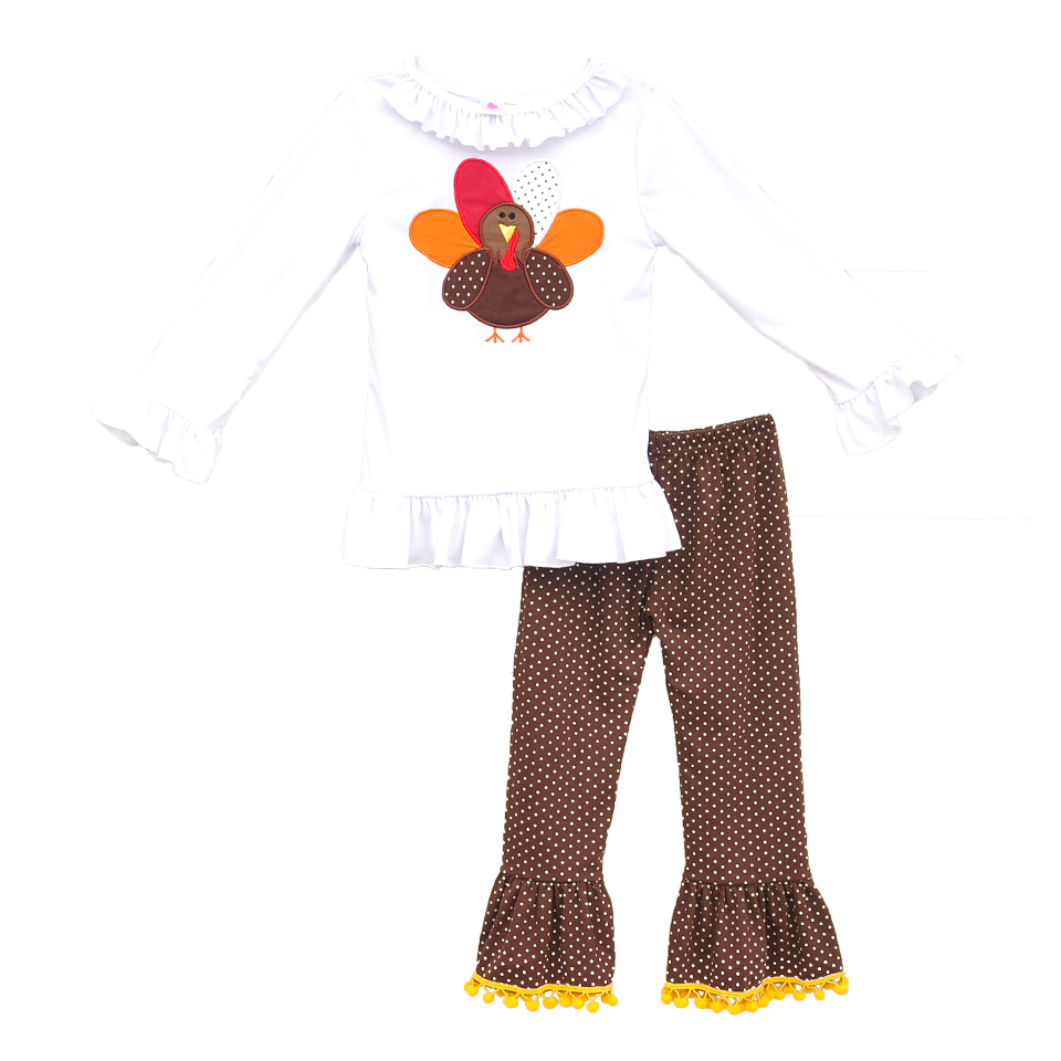 Latest Thanksgiving Clothing Set For Kids Girls Fall Embroidery Turkey Top Polka Dots Cotton Ruffle Pants Children Suits T011<br>