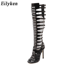 Eilyken Gladiator Over Knee High Heel Boots Sexy Buckle Women Open Toe Stiletto Sandals Club wear Party Fetish Motorcycle Boots(China)