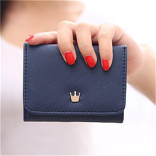 Buy women Short Wallet credit card holder Crown decorated Small Mini PU Leather Coin Purse luxury brand wallets designer purse 2017 for $3.13 in AliExpress store
