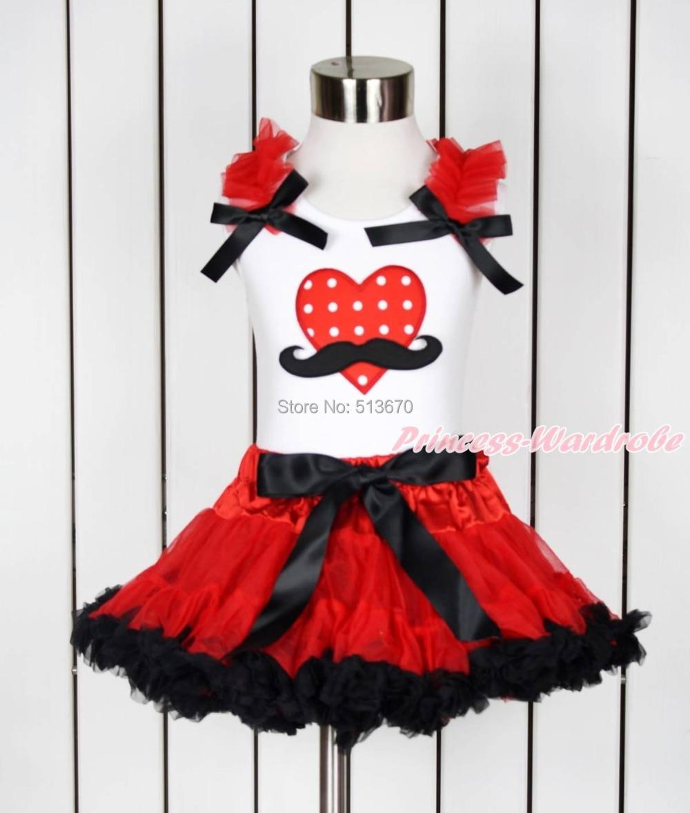Valentine Mustache Red White Dot Heart White Top Red Black Girl Pettiskirt 1-8Year MAPSA0114<br>