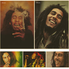 bar cafe decoration and combine shipping Vintage Style Retro Paper Poster Reggae music Bob Marley(China)