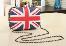 1 piece letter women long wallet Designer PU Leather Purses Ladies UK GB British flag Women Wallets with chain shoulder bag