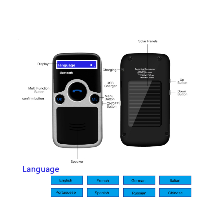 E0176-(with LCD display)Solar Bluetooth Car Kit Handsfree-6 (6)