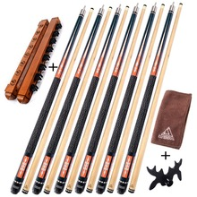 CUESOUL G202X6 6 Pieces Pool Cue Stick With Cue Bridge Head,Cue Towel,8 Cue Stick Pool Table Billiard Wall Rack For House Bar