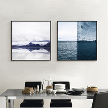Glacier Sea Nordic Painting Mural Art Poster Blue Series Blocks Canvas Drawing Wall Paper Ornaments for TV Sofa Table Background