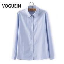 VOGUE!N New Womens Ladies Animal Little Swan Embroidery Long Sleeve Casual Light Blue White Blouse Tops Shirt