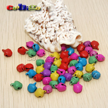 100pcs Pack 6mm Colorful Iron Loose Beads Christmas Jingle Bells for Tree Cat Collar(China)