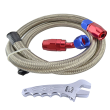 AN6 Stainless Steel Braided Oil Fuel Hose Line 1M+AN 6 Straight 45 Degree Swivel Hose Ends+AN Aluminum Adjustable Wrench Spanner