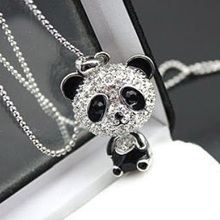 Imitation Crystal Cute Female Gold Silver Color Pink Black Panda Jewelry Sweater Chain Necklace N001 Nice Shopping
