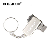 Rotable Metal USB Flash Drive 16G 32G 64G 8G 4GB Real Pen Drive Thumb Disk Memory Stick with key chain can Customization print(China)