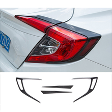 Car Styling Carbon Fiber Lines Scratch Resistant Car Rear Fog Lamps Stickers For 10th HONDA CIVIC Car Taillight Stickers(China)