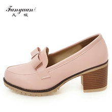 Fanyuan 2017 34-43 Office Lady High Heel Shoes Women Bowtie Suqare Toe Thick Heels Pumps Sexy Dating Party Club Female Footwear