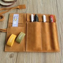 HighQuality handmade largespace school pencil case genuine Suede leather pencil bag ,cowhide pencilcase  stationery pencil pouch