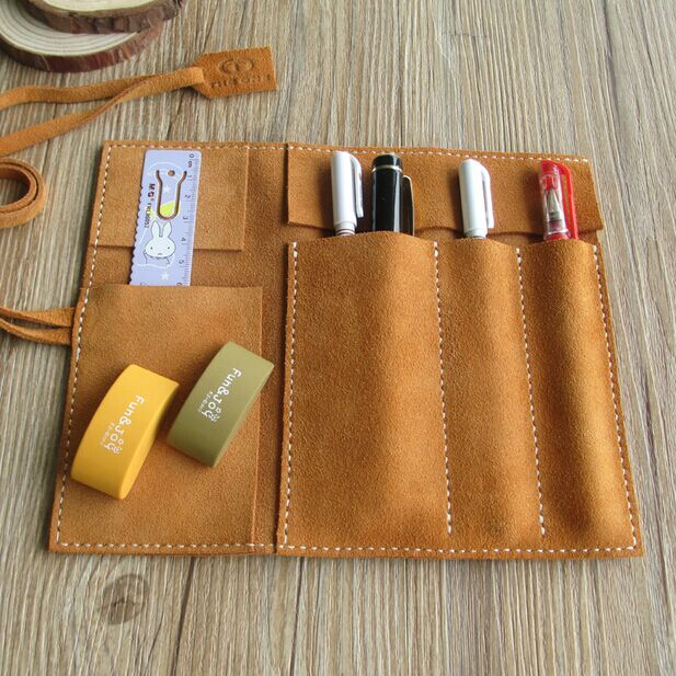 HighQuality handmade largespace school pencil case genuine Suede leather pencil bag ,cowhide pencilcase  stationery pencil pouch<br><br>Aliexpress