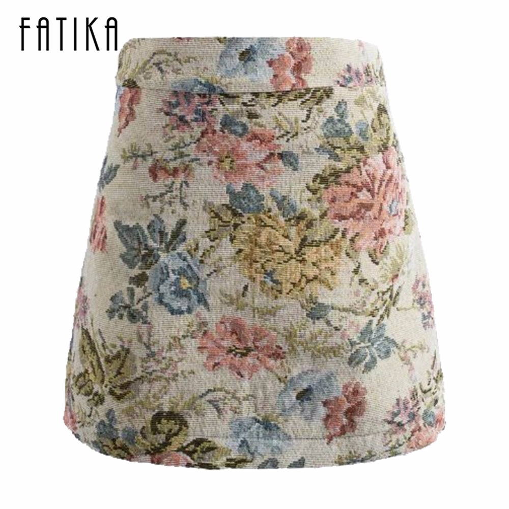 FATIKA 2017 Fashion Women Mini Skirt Ladies Flower Printed High Waist A-Line Skirts Embroidery Floral Skirts Women