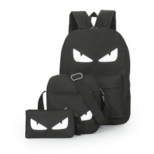 3Pcs/Sets Anime Luminous Black Backpacks Gengar One Piece Batman Super Man Naruto Bags Music Students Backpacks For School Gifts(China)